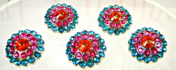 Turquoise, Hot PInk and Orange Acrylic Rhinestone Buttons, Set of 5
