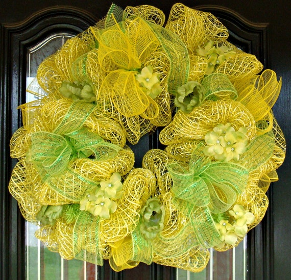 Deco Oasis Mesh Bright Yellow Door Wreath Free Shipping