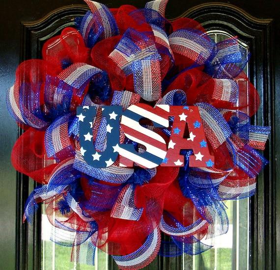 Deco Mesh Red White And Blue Patriotic Door Wreath