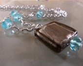 On SALE: Square Gray Glass Bead Pendant with Blue Recycled Gems
