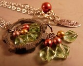OOAK Recycled Silver Metal Gear Pendant with Green and Gold Drops