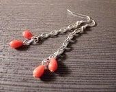Hot Coral Drop Earrings