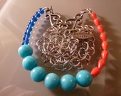On SALE: Chunky Modern Blues and Coral Necklace