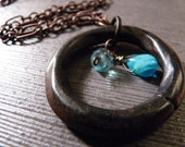 Heavy Brass Metal Ring with Small Blue Accents -Reclaimed