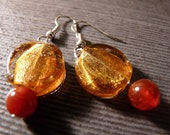Gold and Crimson Happy Earrings
