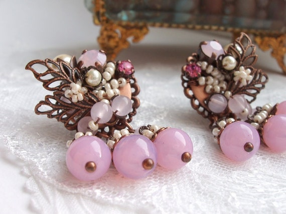 Gorgeous Pink Post Earrings in Antique Copper Beaded in Vintage Style Rhinestone Leaves Sparkling Rose Art Nouveau Earrings