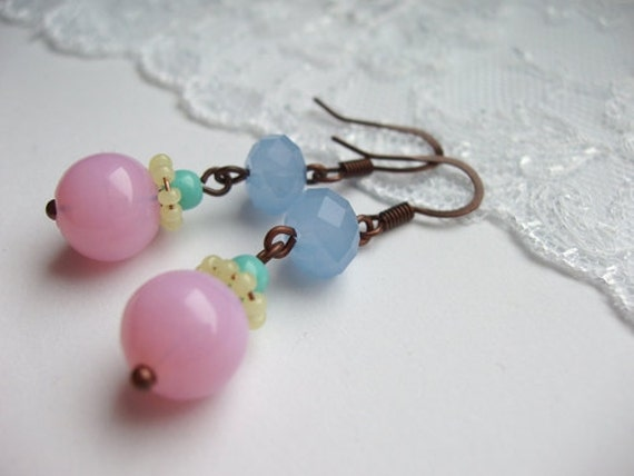 Candy Colors Beaded Earrings in Pink Yellow Mint Blue