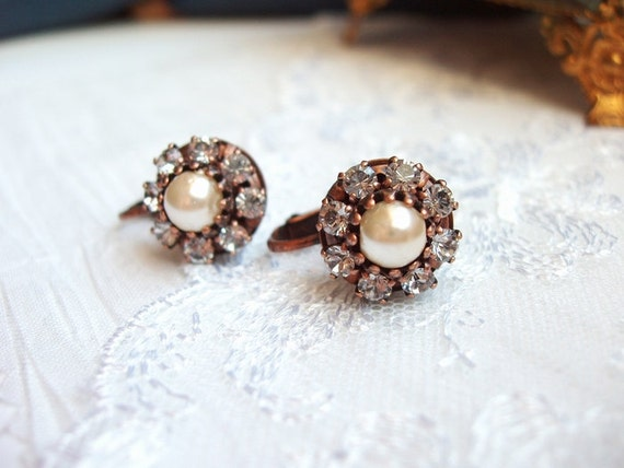 Sparkling Crystal Clip-On Earrings with Swarovski Shadow Rhinetsone Screwback Glam Around A Pearl