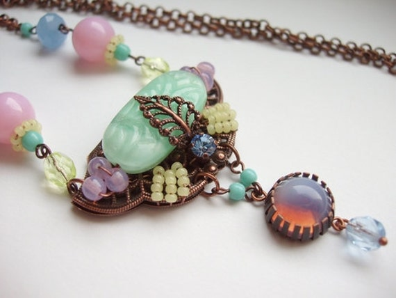 Candy Colors Bright Pendant Necklace in Pink Yellow Mint Blue Sparkling Rhinestone