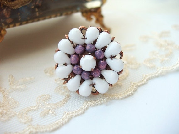 White & Purple Beaded Ring Adjustable Antique Copper with Vintage Rhinestone