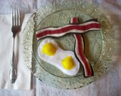 Pretend Felt Food- Two slices of Bacon and Eggs Breakfast Set