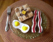 Pretend Felt Food- Waffle, Eggs and Bacon Breakfast Set