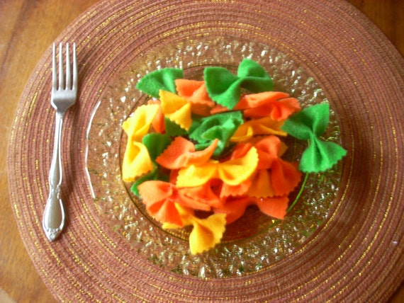 Pretend Felt Food- Rainbow Bowtie Pasta