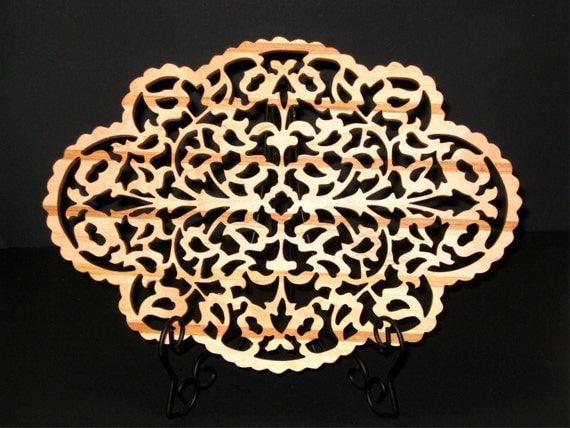 Maple and Cherry Victorian Fretwork Serving Plate Trivet