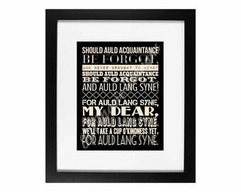 Auld Lang Syne - Black & Champagne | Holiday Home Decor Digital Printable - INSTANT DOWNLOAD