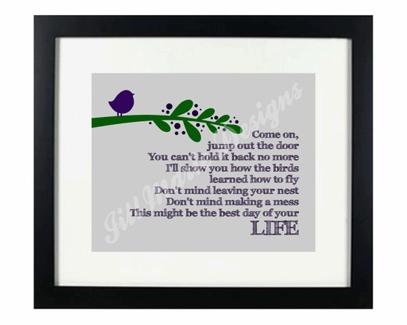 """Song Lyrics Digital Printable - Instant Download: """"Best Day of Your Life"""" by Katie Herzig"""
