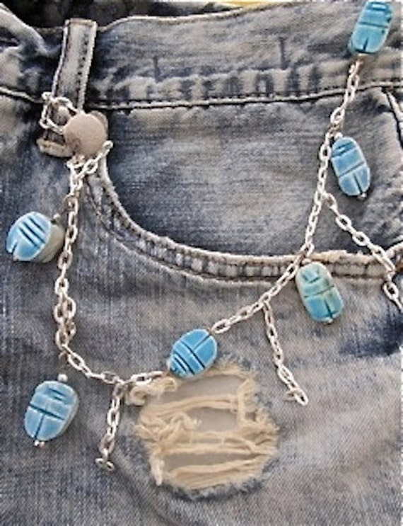 items similar to turquoise blue scarab jean jewelry on