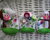 Personalized felt name banner with flowers and owls