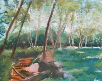 Georgia Creek Pastel Landscape