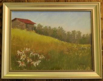 Hillside Barn Pastel Landscape