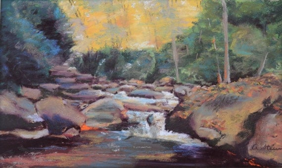Rambling Waters Landscape Pastel