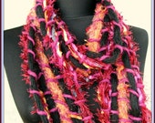 Purple and Black Handmade Scarf, Perfect accessory in purples,blacks,violets,blues and fringes ,Extra Long Hand Knit Scarf for Women