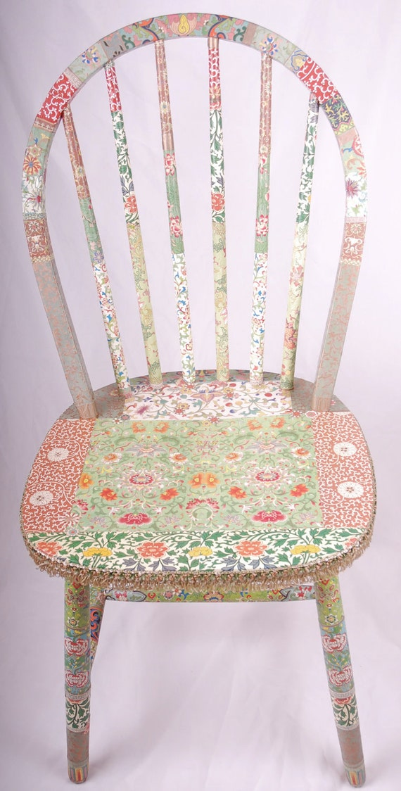 """REDUCED decoupage spindle back chair  """"Rowena"""""""