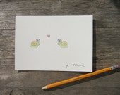 Cute animal i love you / valentines day postcards - different languages - 5x7 - watercolor
