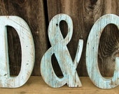 """Set of three Barn Wood Letters with Ampersand 12"""" , Painted Distressed, Sea Kiss Blue Color, Cottage Chic Style"""