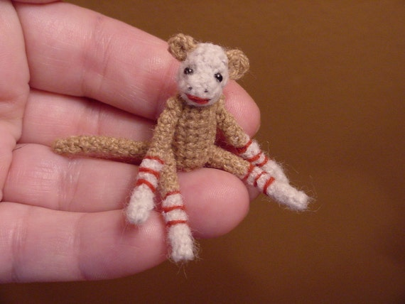 Original SOCK MONKEY ((made to order))-bear artist Miniature(Thread)Doll house/crocheted collectible-OOAK