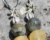 Labradorite and Calcite Earrings