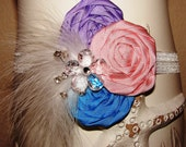 Beautiful triple rosette headband pastel spring colors with bling feathers and crystal flowers on white elastic headband.infants to adults