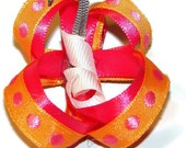 Adorable pink/orange ribbon butterfly hair clip on fully lined alliugator clip with non slip grip kids, infants, toddlers small clip