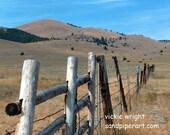 rustic landscape photograph  western landscape  landscape wall art  western home decor  meadow fence photograph