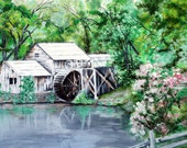 landscape painting   Mabry Mill    Blue Ridge Parkway    Blue Ridge Mountain art    Vintage landscape
