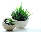 White Mother Earth Planter. Spherical. Round. New Lower Price