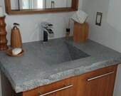 Custom Modern Zen Concrete Bathroom Sink in Cool Gray. Integral sink with Vanity