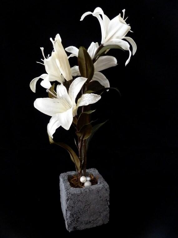 White Silk Lilies in Dark Gray Cube Concrete Planter