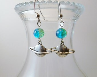 Heavenly Bodies Ringed Planet Earrings