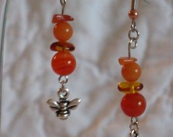 Amber Bead Honey Bee Earrings