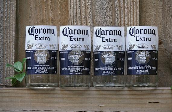 Recycled Corona bottle glasses- 4 pack