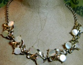 Vintage 1950's Gold Tone Mother of Pearl Shell Bib Choker Necklace