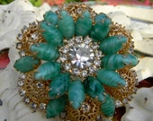 RESERVED FOR JAN Lovely Vintage Jade and Lace Filigree Flower Brooch