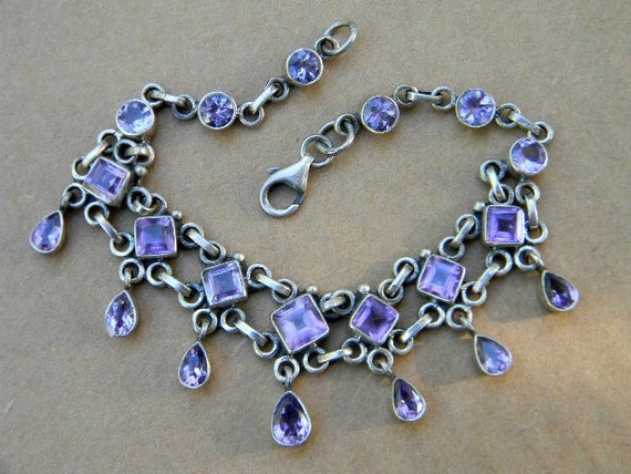 925 Sterling Amethyst Bracelet with Dangling Semi Precious Stones