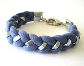 Purple Jersey Fabric Braided Bracelet with Silver Tone Hex Nut