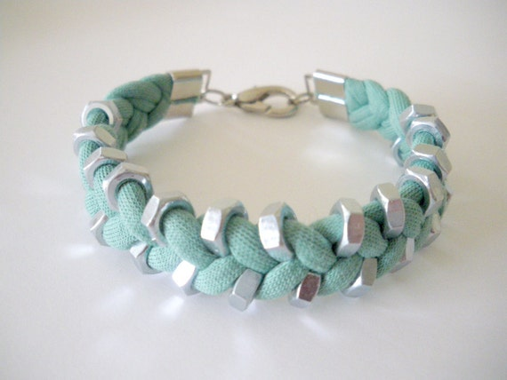 Mint Green Jersey Fabric Bracelet with Silver Tone Hex Nut