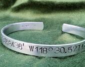 Latitude Longitude -  Metal Stamp Bracelet (1o8-4.5sp)