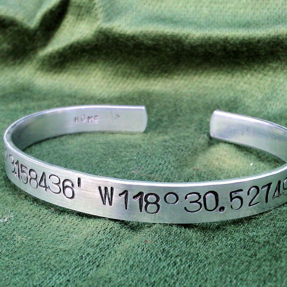 Latitude Longitude -  Metal Stamp Bracelet (1o8-4.5sp)