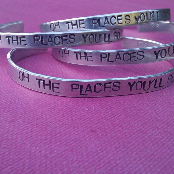 Oh The Places You'll Go -  Metal Stamp Bracelet (1o8-3.5E)
