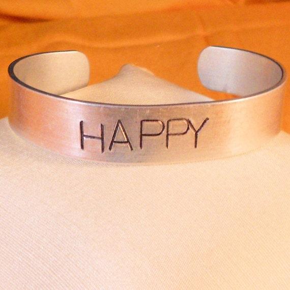 HAPPY - Custom Bracelet Metal Stamped